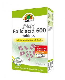 سفارش اینترنتی قرص فولاسین فولیک اسید 600 سان لایف 60 عددی