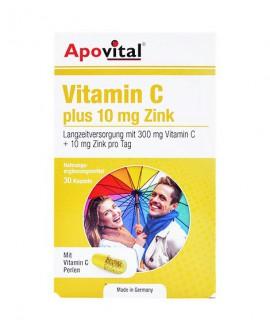 ترکیبات کپسول ویتامین c پلاس 10 میلی گرم زینک آپوویتال 30 عددی