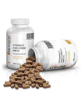 ترکیبات قرص ویتامین سی و لیزین 500 میلی گرم برونسون 100 عددی