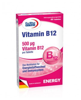 خرید آنلاین قرص ویتامین ب12 500 میکروگرم یوروویتال