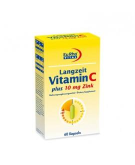 خرید اینترنتی کپسول ویتامین C + زینک (10 میلی گرم) یوروویتال 60 عددی