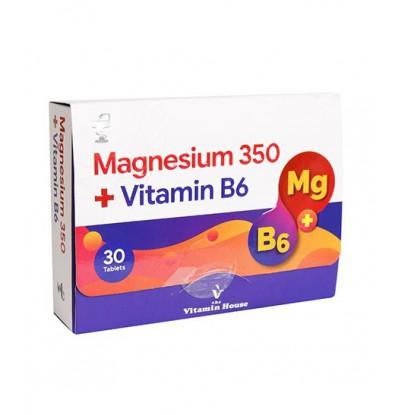 خرید اینترنتی قرص منیزیم 350 و ویتامین B6 ویتامین هاوس 30 عددی