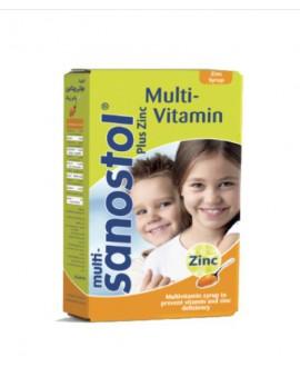 شربت مولتی ویتامین پلاس زینک سانستول 155 میلی لیتر