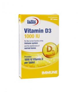 خرید آنلاین قرص ویتامین D3 1000 یوروویتال 60 عددی